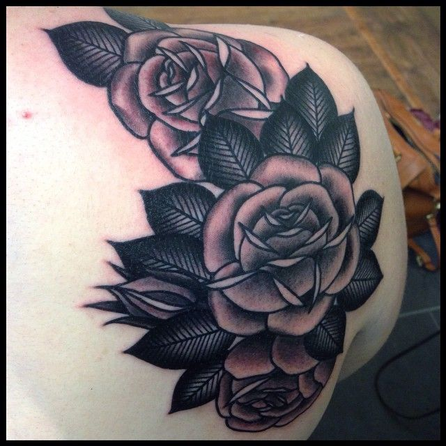 Neotraditional black and grey rose tattoo by Lauren Gow # ...