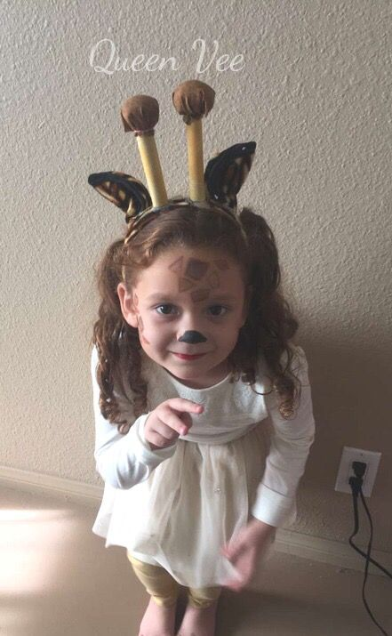 My First Attempt At Giraffe Make Up Only Did A Few Spots Since She's Only 4. I Also Made The Ears Myself. Camargo Family Halloween 2016 DIY Giraffe Costume #giraffecostumediy My First Attempt At Giraffe Make Up Only Did A Few Spots Since She's Only 4. I Also Made The Ears Myself. Camargo Family Halloween 2016 DIY Giraffe Costume #giraffecostumediy