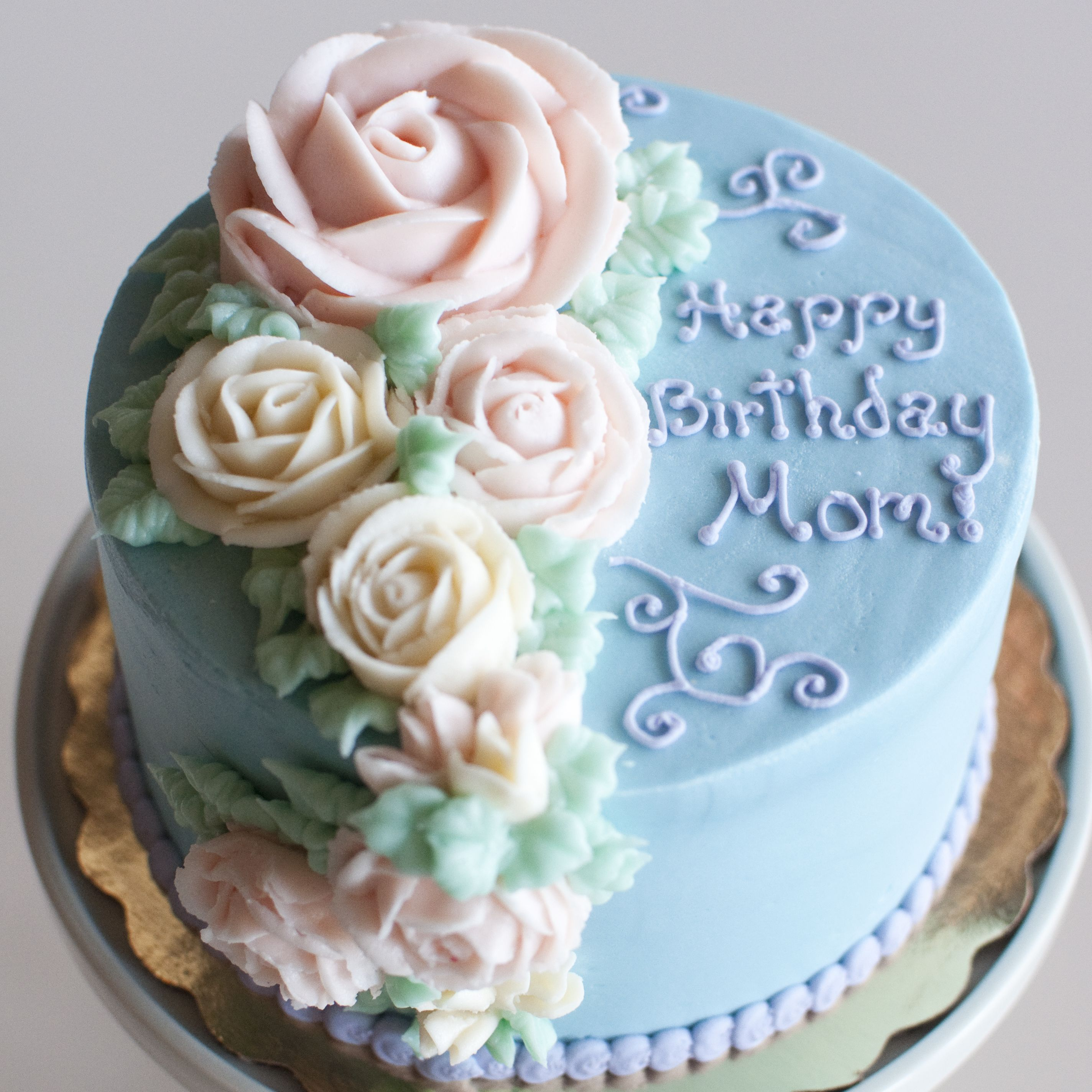Peachy Happy Birthday Rose Birthday Cake Sugar Flowers Bird Bakery Funny Birthday Cards Online Overcheapnameinfo