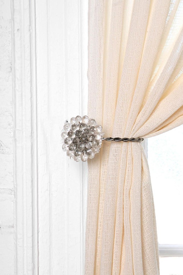 Huis Vintage Collection PAIR Lilly Flower Curtain Tie Back Hook Antique Silver Finish