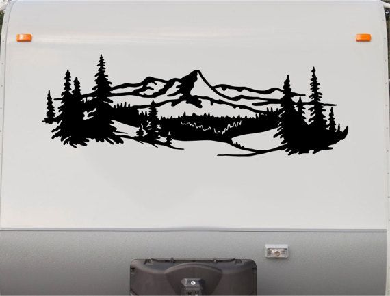 Lake Trees Mountains RV Camper Vinyl Decal Sticker Graphic - Custom rv vinyl decals