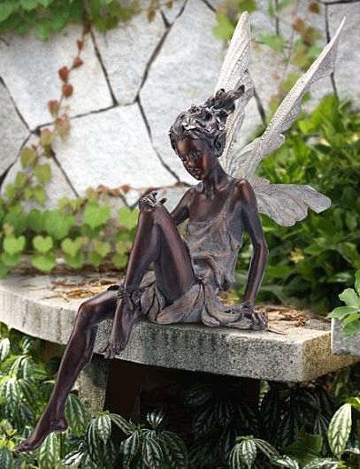 Good Bronze Garden Sitting Fairy Outdoor Statuary Statues Home Decor