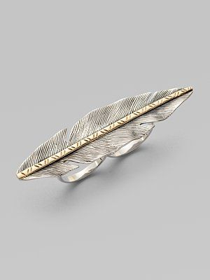 Elizabeth and James Two-Tone Feather Double Finger Ring