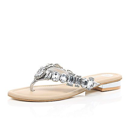 f1e850a37 Silver gemstone embellished sandals £35.00