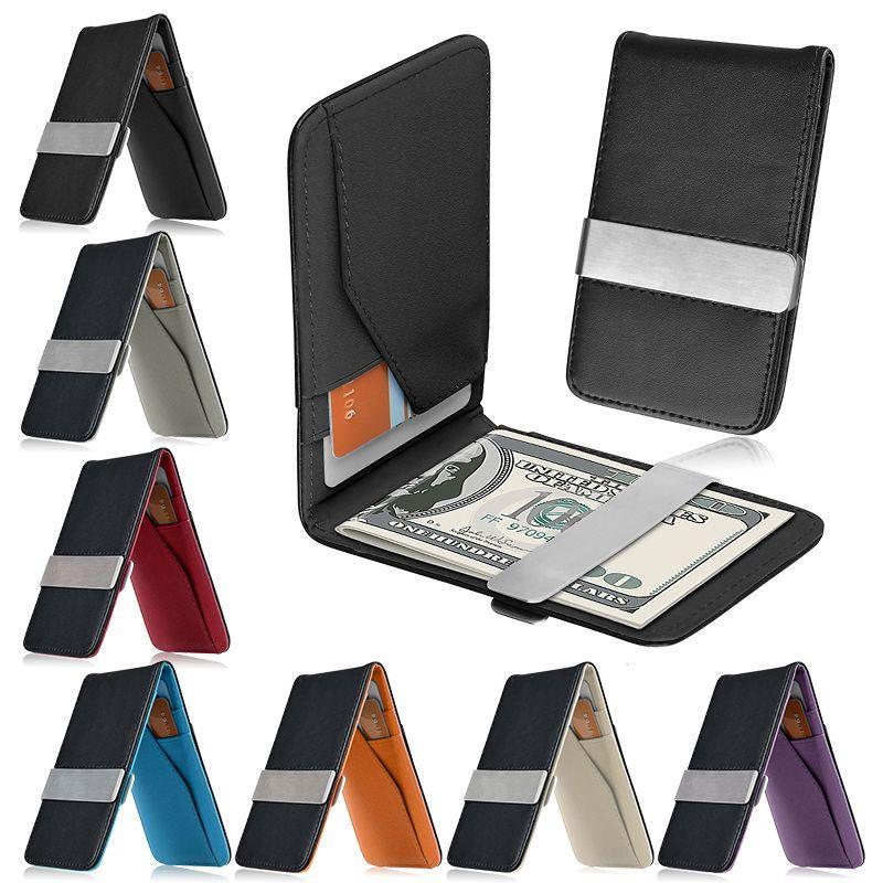 Mens Men/'s Leather Silver Money Clip Slim Wallets Black ID Credit Card Holder