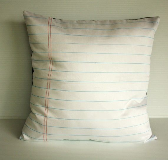 back to school Notebook paper organic cotton fabric cushion cover pillow - I need 10 of these!! Love.