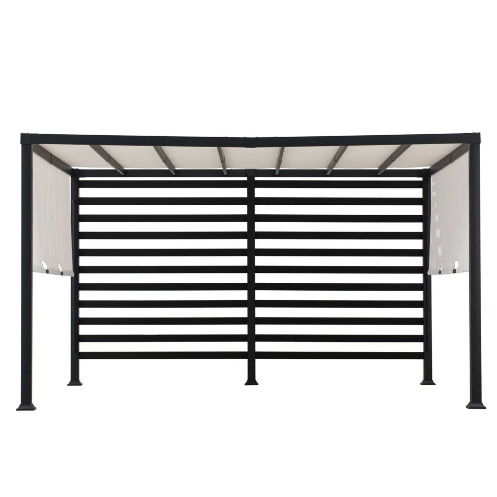 Sally 10 X 12 Steel Frame Backyard Vented Pergola With Adjustable Canopy Sunjoy In 2020 Backyard Furniture Pergola Steel Frame
