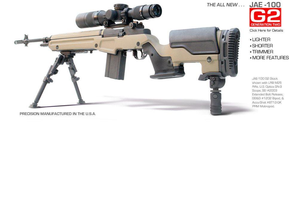 M1a with jae100 g3 stock best sniper rifles pinterest
