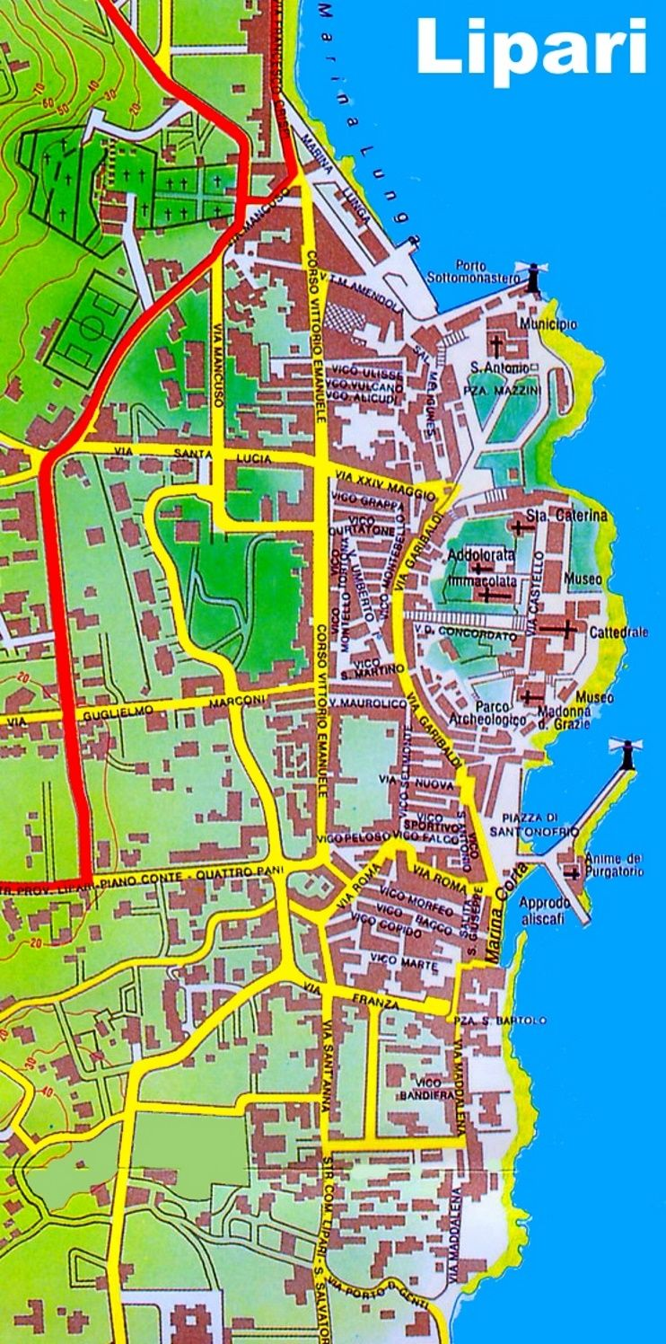 Lipari town map Maps Pinterest Italy