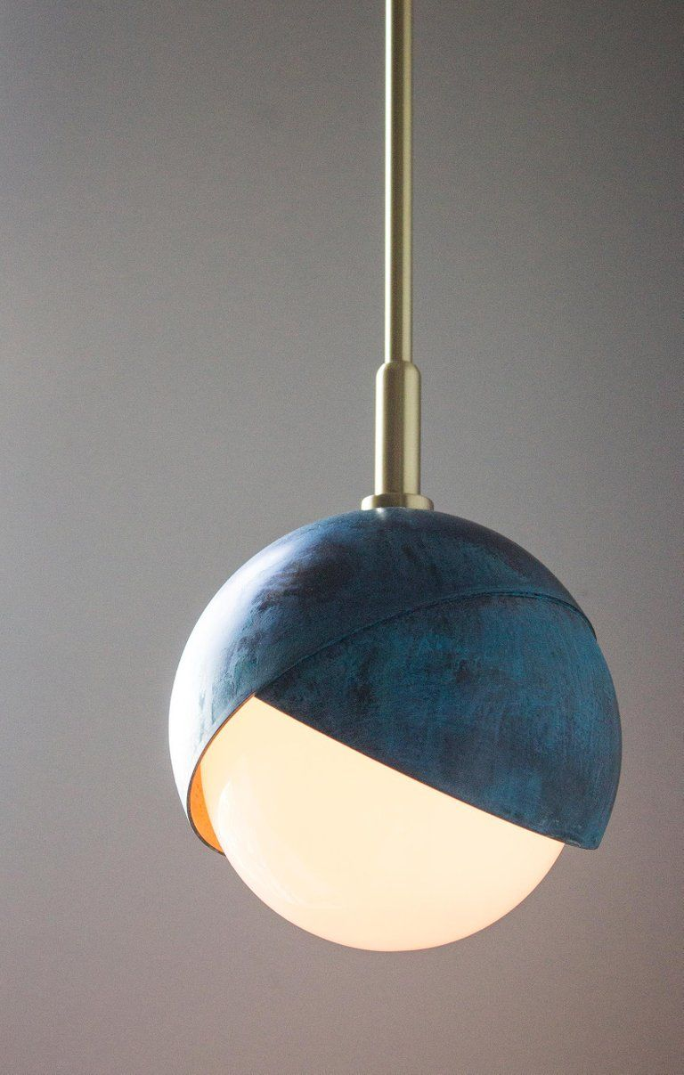 Other Benedict Pendant, Prussian Blue, Polished & Blackened Brass Details & Opal Glass For Sale