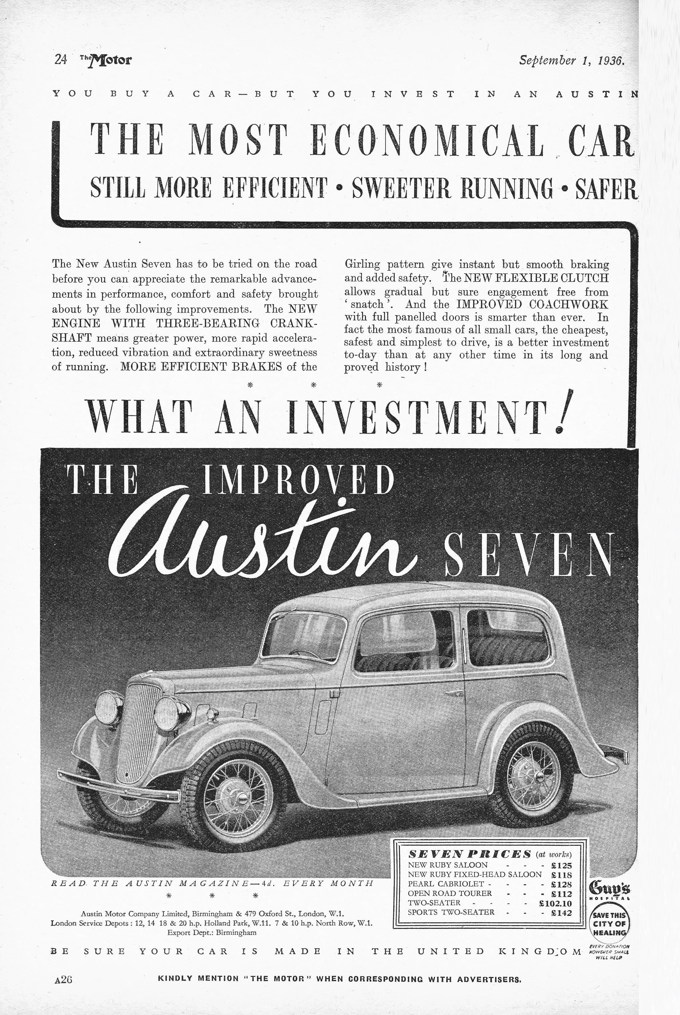 Austin Car Autocar Advert 1936 Austin 7 Ruby Ad s