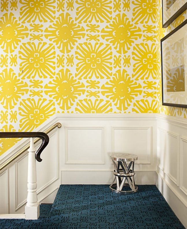 Love the combination! white and yellow #wallpaper, carpet in ...
