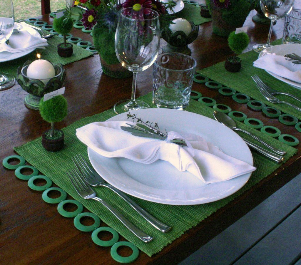 I love this green mixed with white china. The color just ...