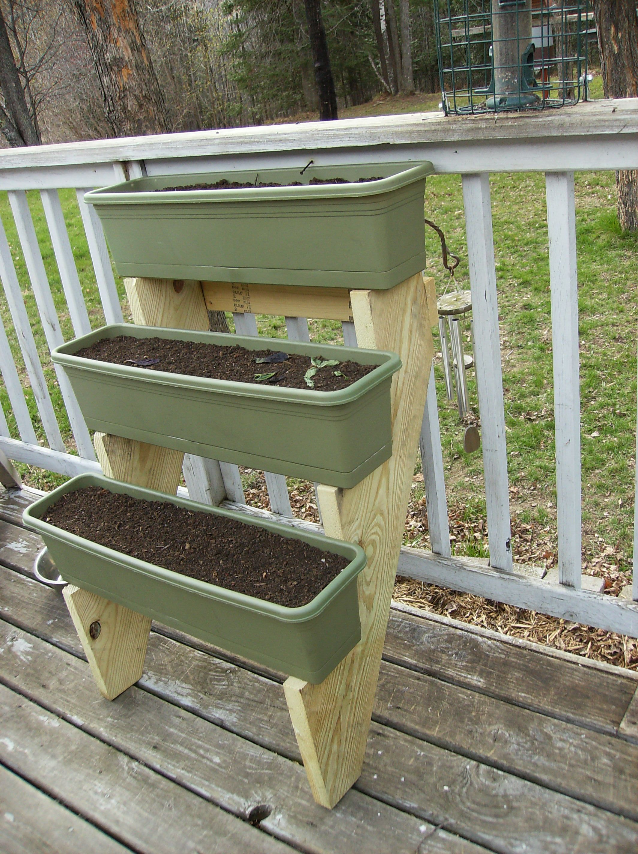 Three tier planter made with stair stringers herb planter