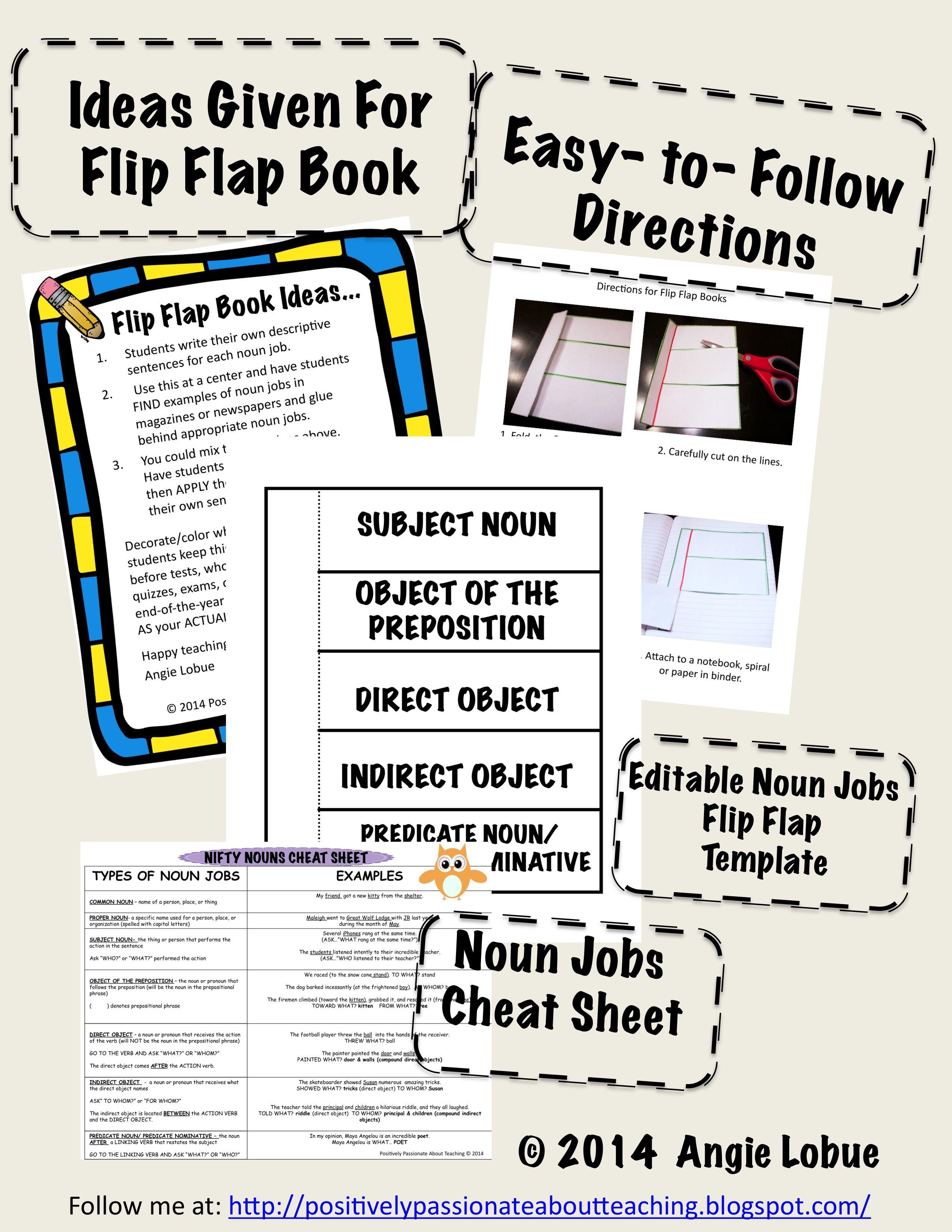 Interactive Noun Jobs Flip Flap Book Template And Noun