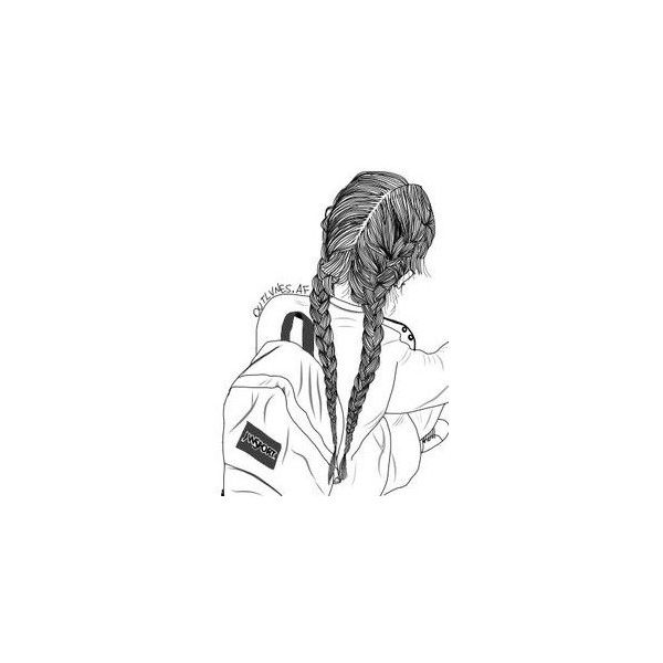 Girl with two side braids drawing