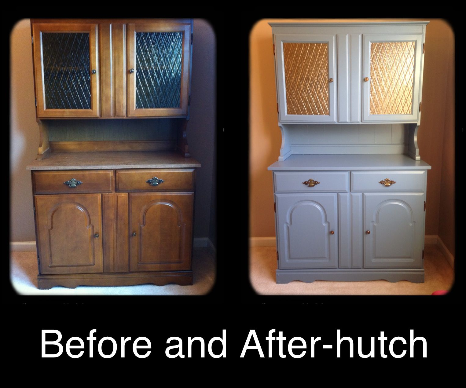 Before and after my Grannyus old hutch makeover Primed and painted