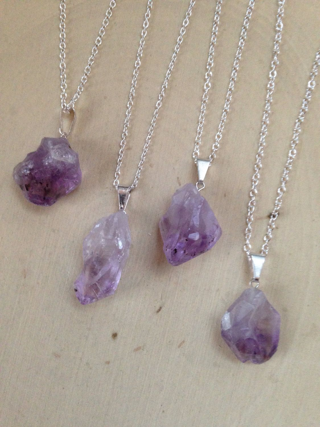 heart purple raw quartz silver necklace amethyst pendant in