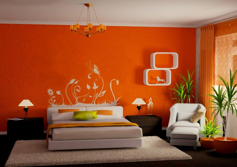 Modern Orange Bedroom Design Ideas With Cream Bed And Pillow Rug On The Laminate Floor Also Beautiful Natural Art Wall