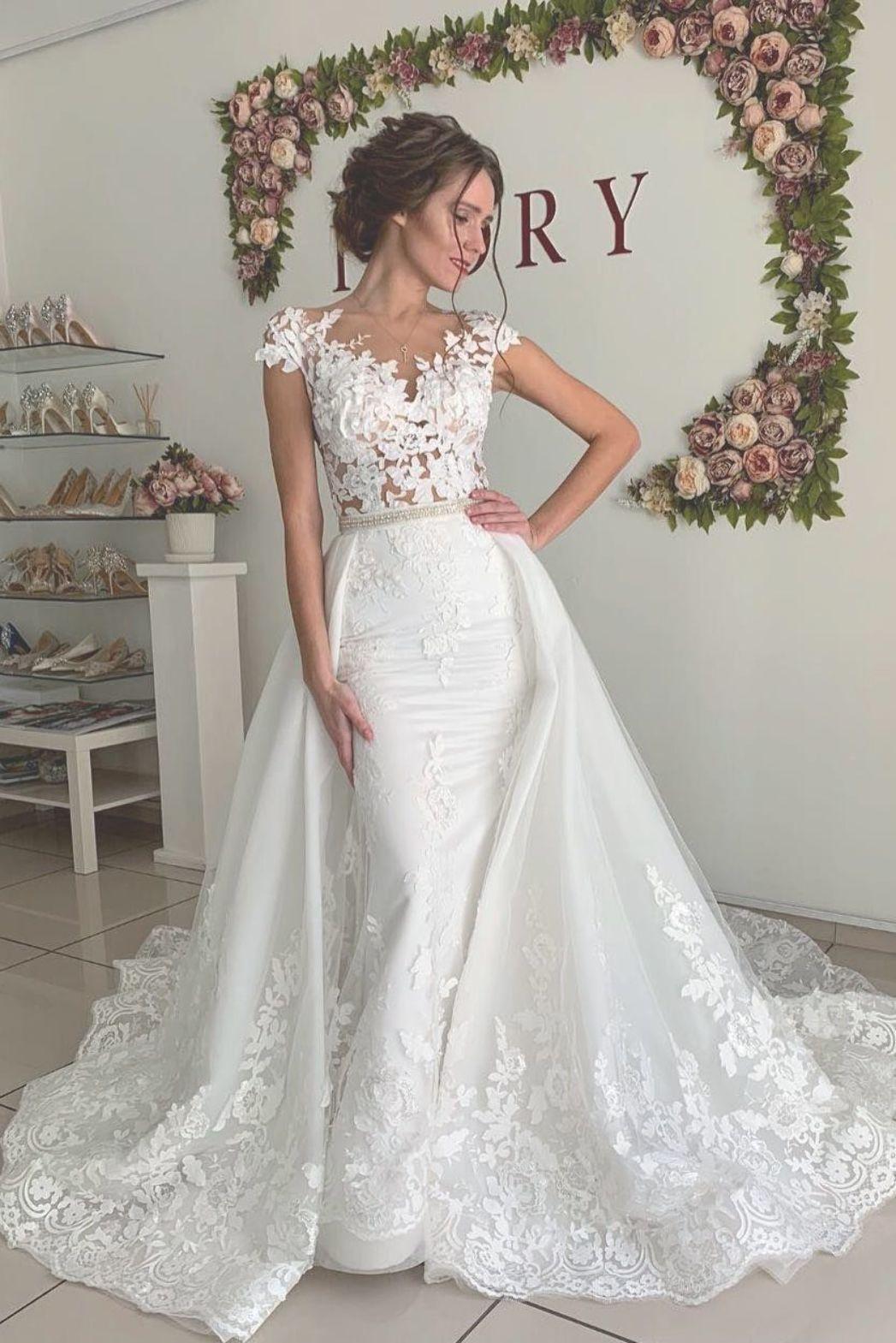 Cap sleeves appliques mermaid wedding dress with