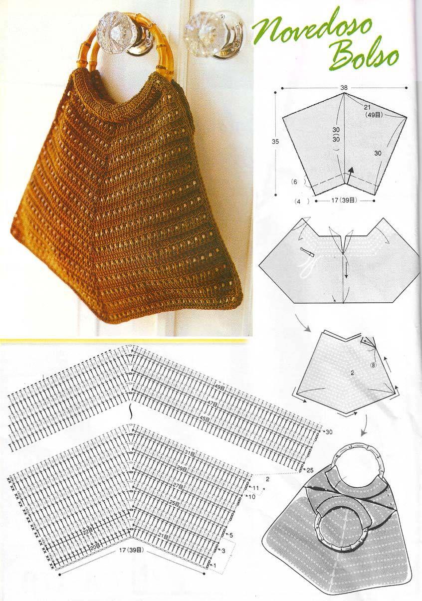 Bolso con Patron de Asas Rigidas - Patrones Crochet | Bag , táska ...