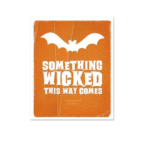 Orange Halloween Modern Art Print Something by hairbrainedschemes - print halloween decorations