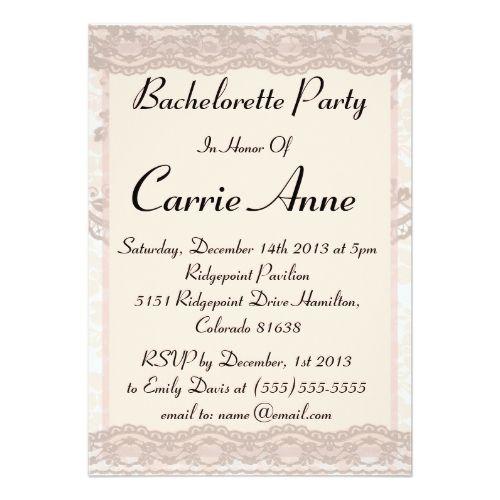 vintage blush pink lace bachelorette party card blush pink hen