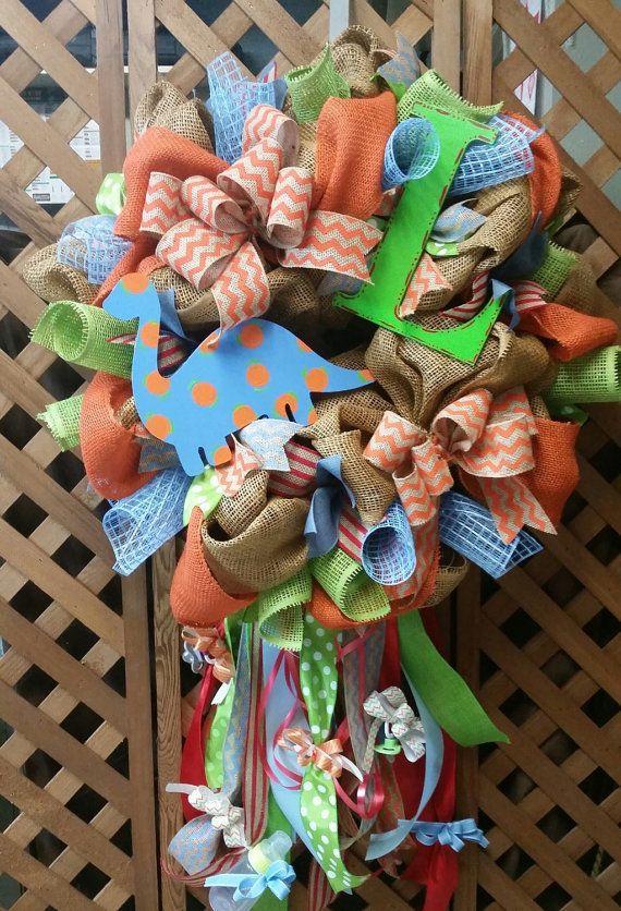 Baby boy dinosaur wreath it\u0027s a boy wreath hospital door hanger personalized & Baby boy dinosaur wreath it\u0027s a boy wreath hospital door hanger ... Pezcame.Com