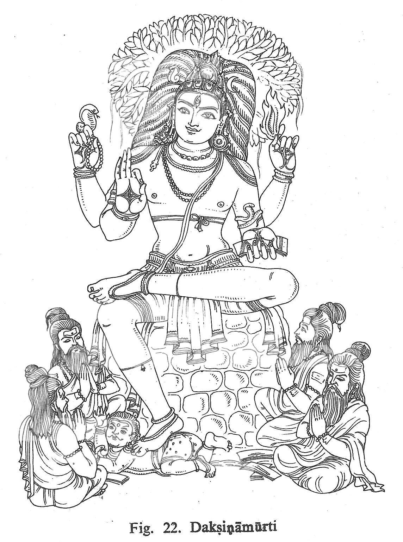daksinamurti hindu gods coloring book pinterest sketches