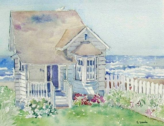 Beach House Watercolor Oregon Coast Ocean Watercolor Beach