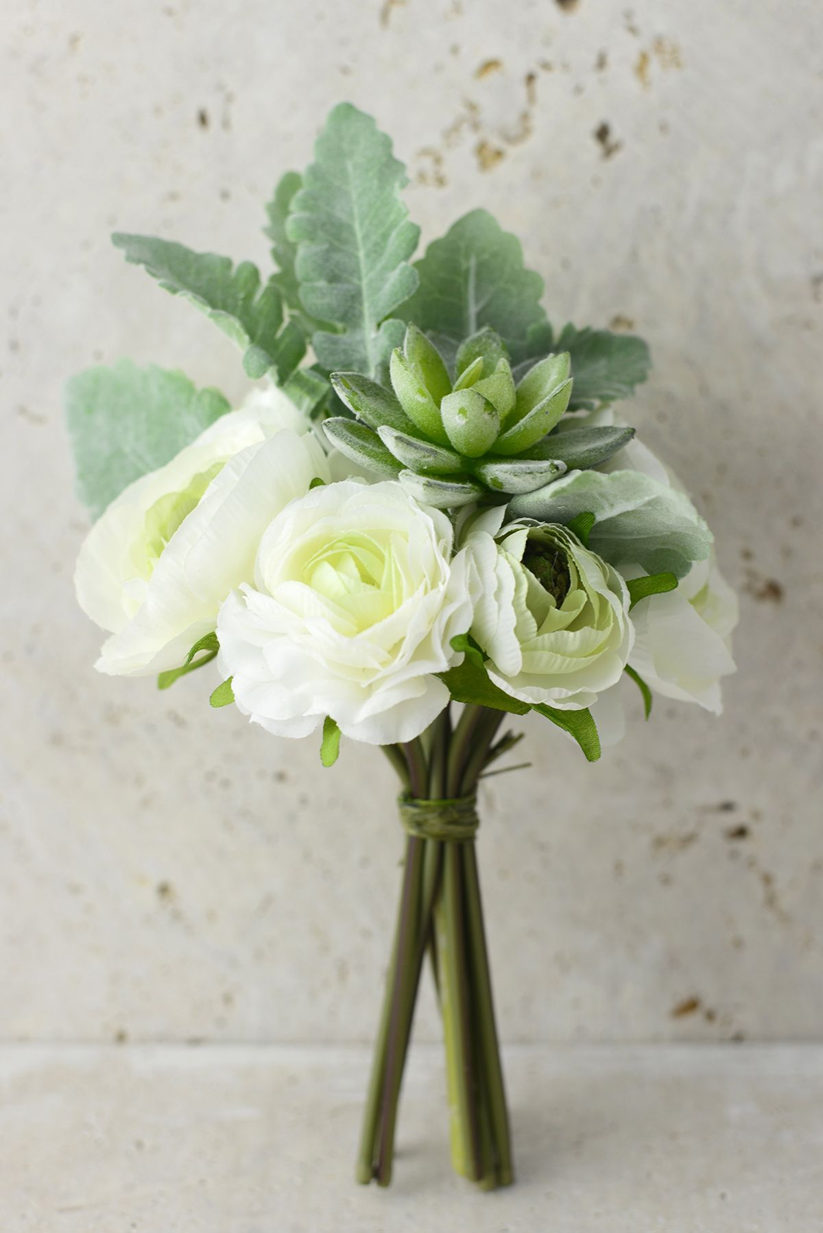 White Flowers & Succulent Bouquet | Green cream, Ranunculus and Flowers