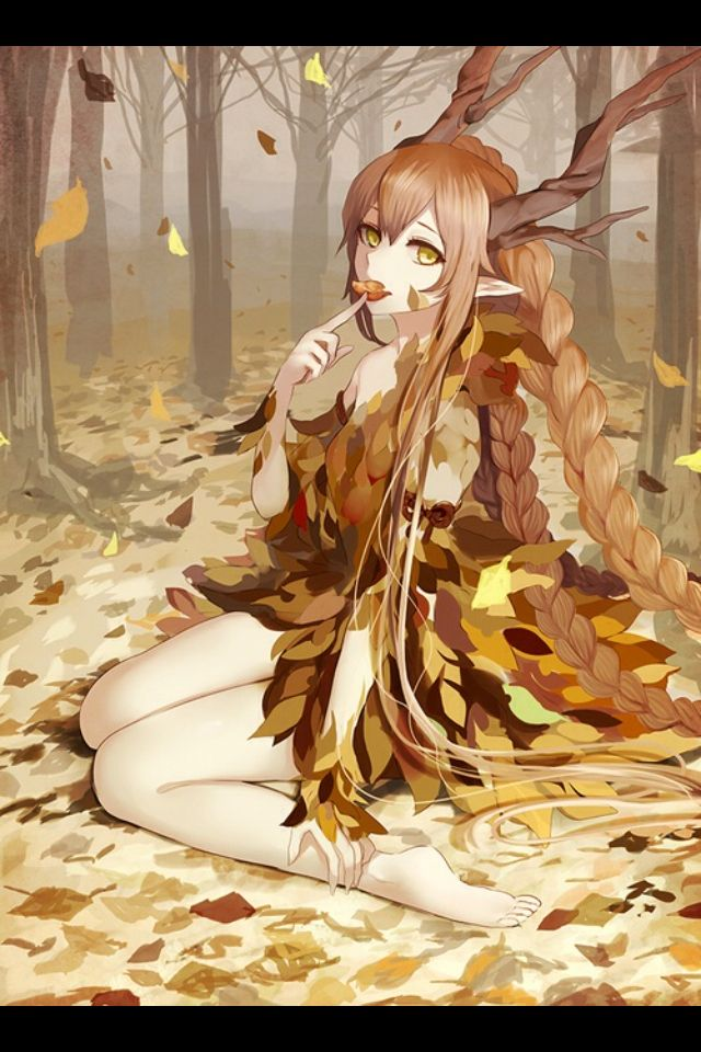 Image result for cute anime girl with brown hair and deer ears