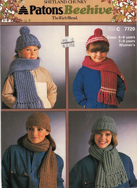 Hats and Scarves Shetland Chunky Knitting Patterns Patons Beehive ...