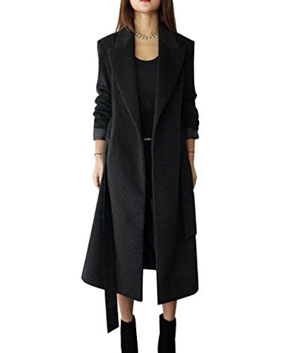 new style 42106 98533 Damen Lang Mantel Trenchcoat mit Gürtel Faux Wollmantel ...