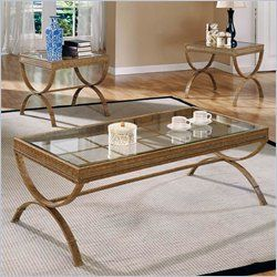 Steve Silver pany Emerson Coffee Table and End Table Set Gold
