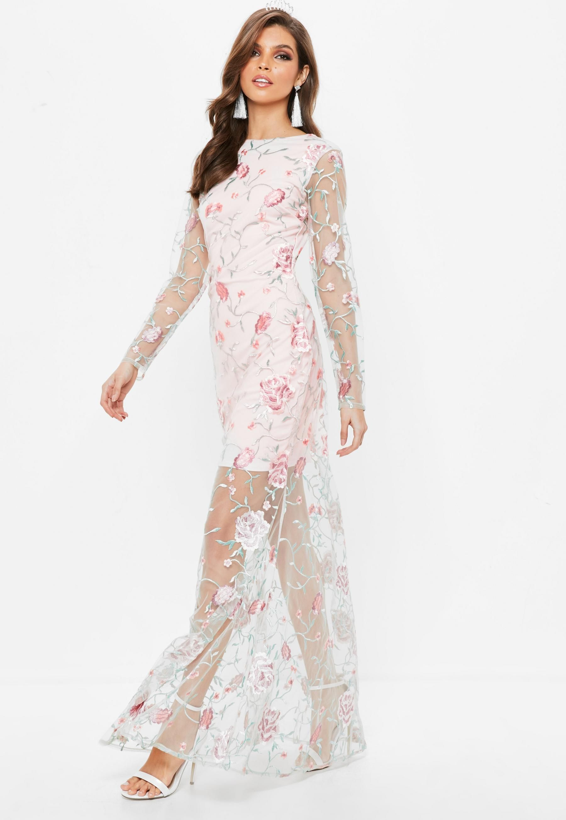 Nude embroidered lace long sleeve maxi dress missguided australia