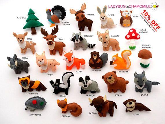 FOREST Animals WOODLAND animals felt magnets by LadybugOnChamomile/enlarge for tree ornaments