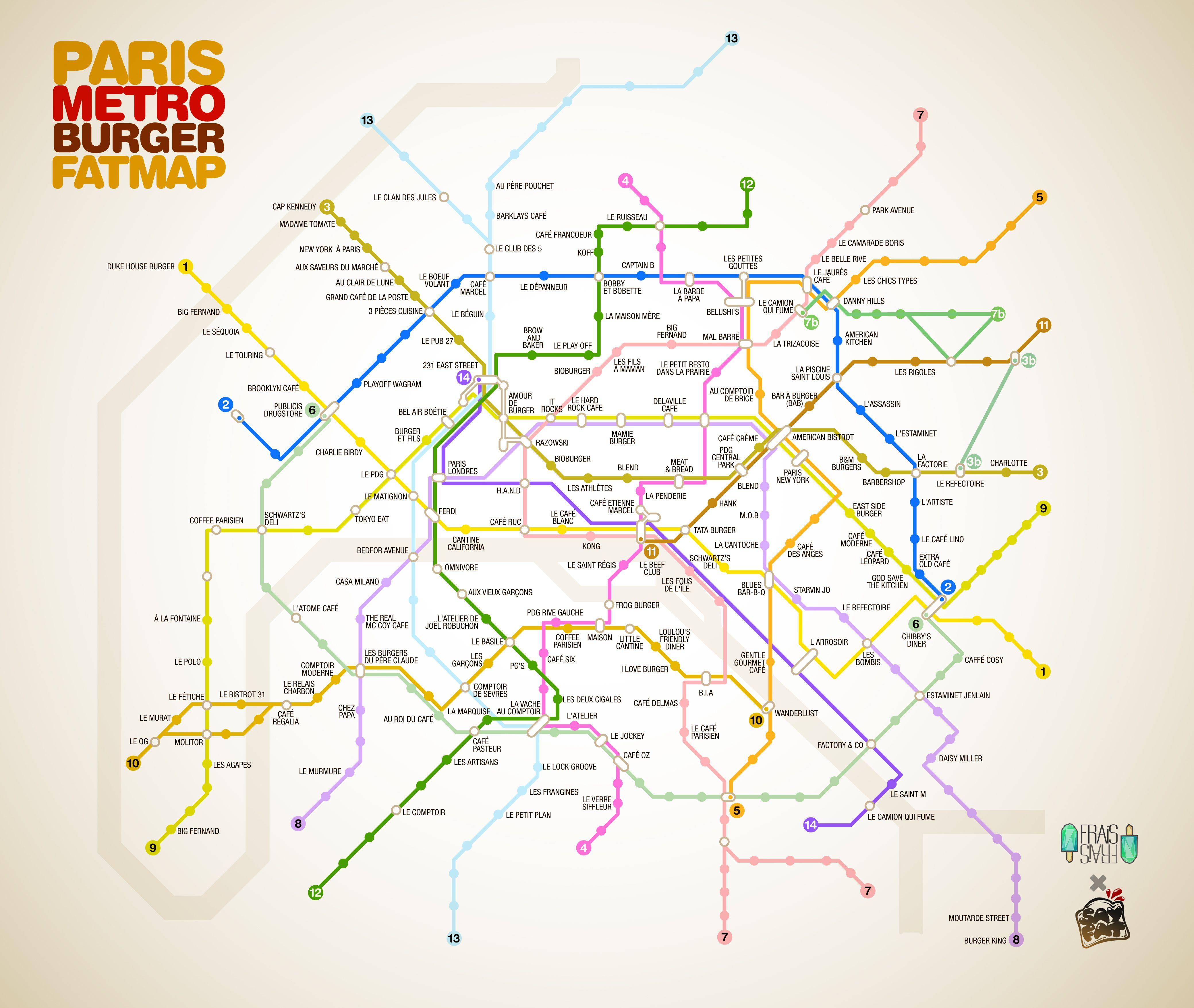 Paris Metro Burger Map