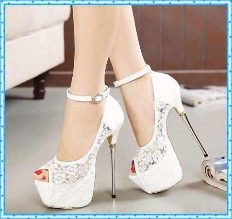 ec9899656 Sapato Salto Alto Agulha com Renda | yeah | Sapatos, Saltos brancos ...