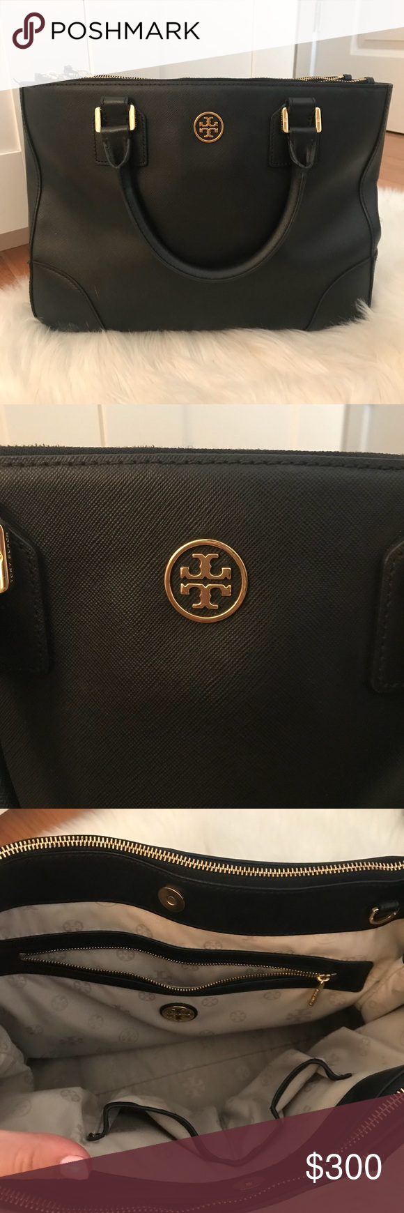 Tory Burch Robinson Tote!! 💗 Tory Burch Robinson tote in great condition! Only used for a couple months. No scratches on hardware. Minor scratch on front of the bag, bottom left. Can easily be removed. Comes with strap and dust bag! Original tag included. This bag has lots of compartments for organization. Love this tote but time for a new one!!! 💗💗 perfect gift for the holidays!! 🎄🎁 Tory Burch Bags Totes
