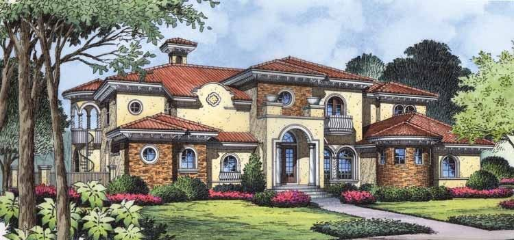 Eplans Italianate House Plan Coastal Paradise 6549 Square Feet And 5 Bed Mediterranean House Plan Mediterranean Style House Plans Mediterranean House Plans