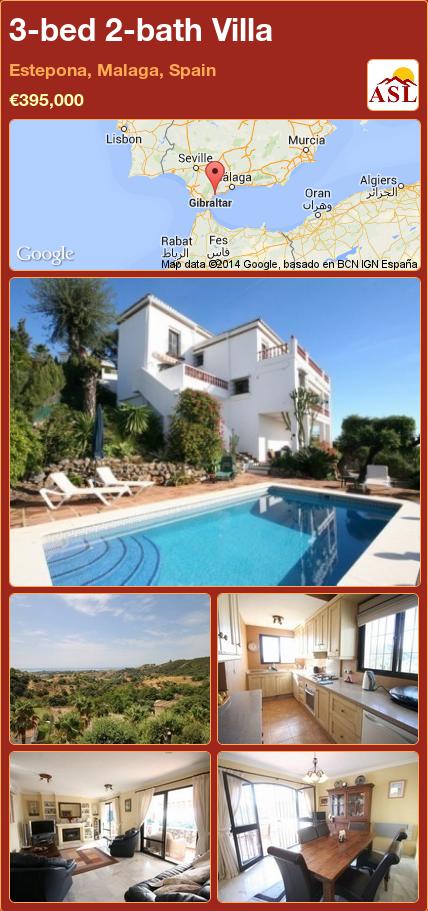 3-bed 2-bath Villa in Estepona, Malaga, Spain ►€395,000 #PropertyForSaleInSpain