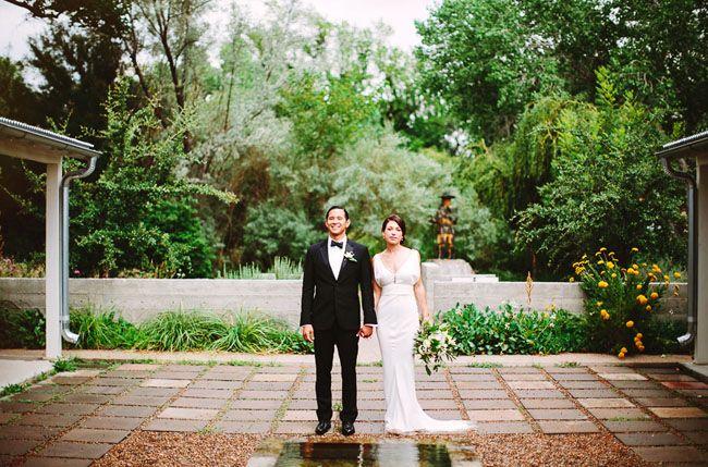 New Mexico wedding with a J Mendel wedding dress