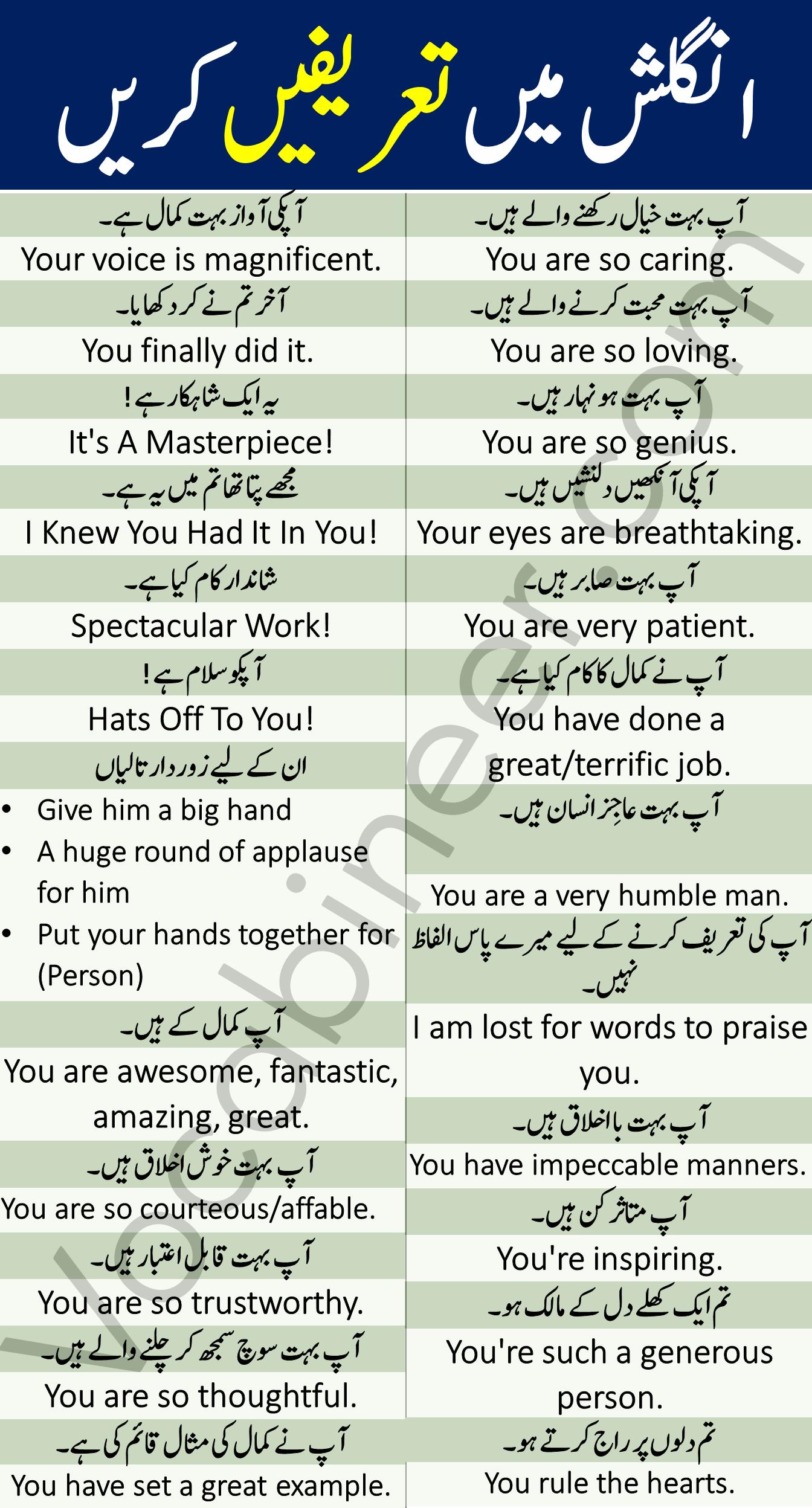 English Sentences in Urdu to Praise Someone