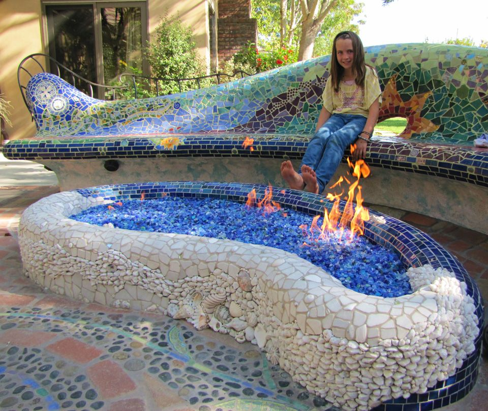mosaic sunburst bench and firepit by passiflora mosaics