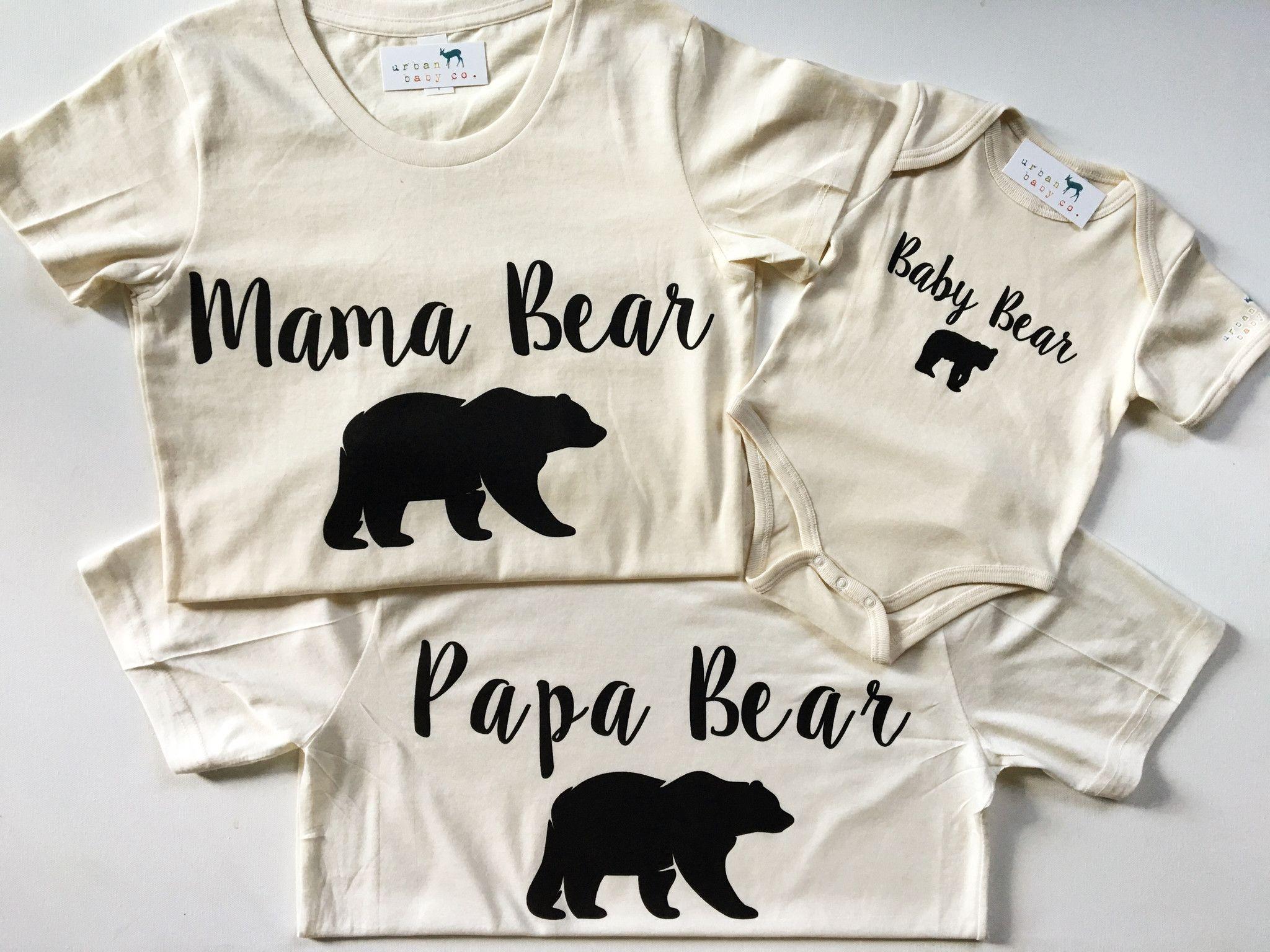 Family Bear Shirts Mama Bear Papa Bear Baby Bear Matching Set