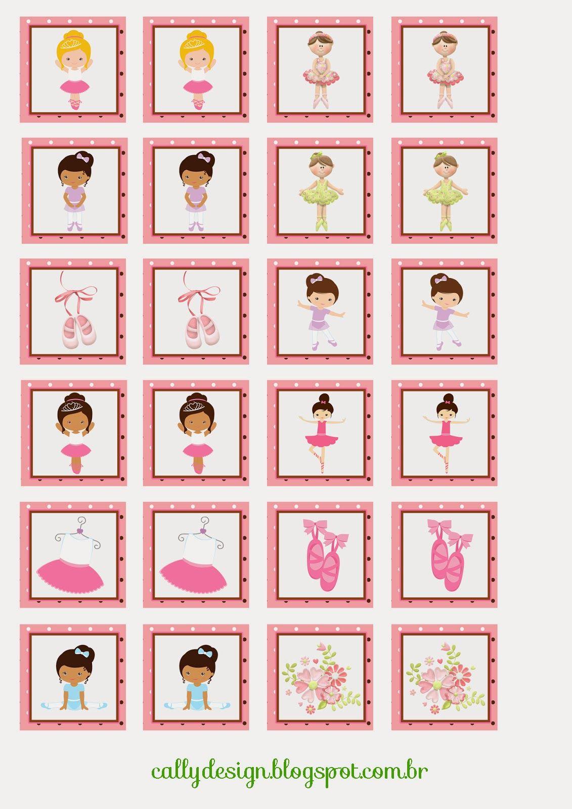 Quebra Cabeca E Jogo Da Memoria Personalizados Para Imprimir Cally S Design Kits Personalizados Gratuitos Bale Para Criancas Danca Para Criancas Jogos