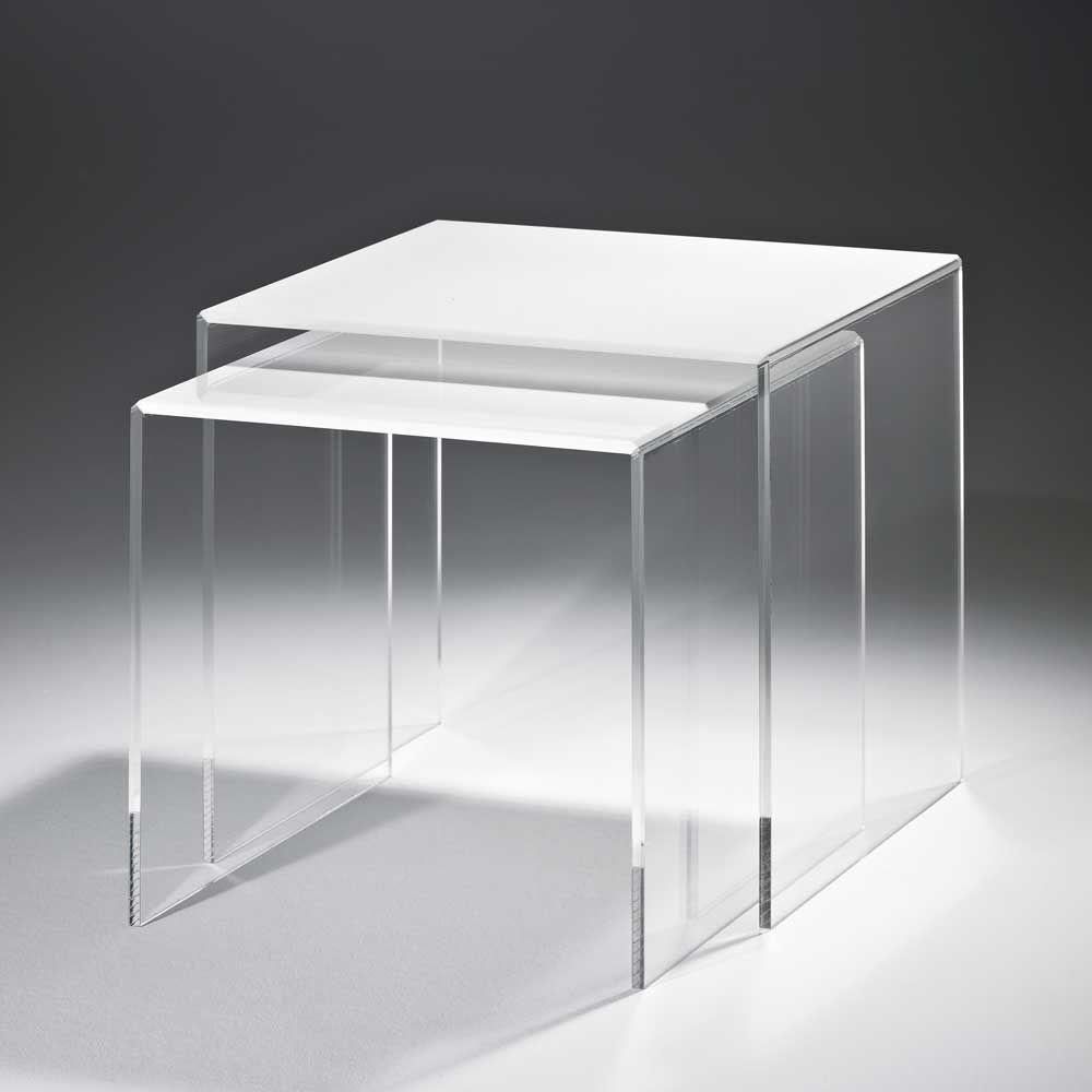 Beistelltisch set aus acrylglas weiß 2 teilig jetzt bestellen unter https