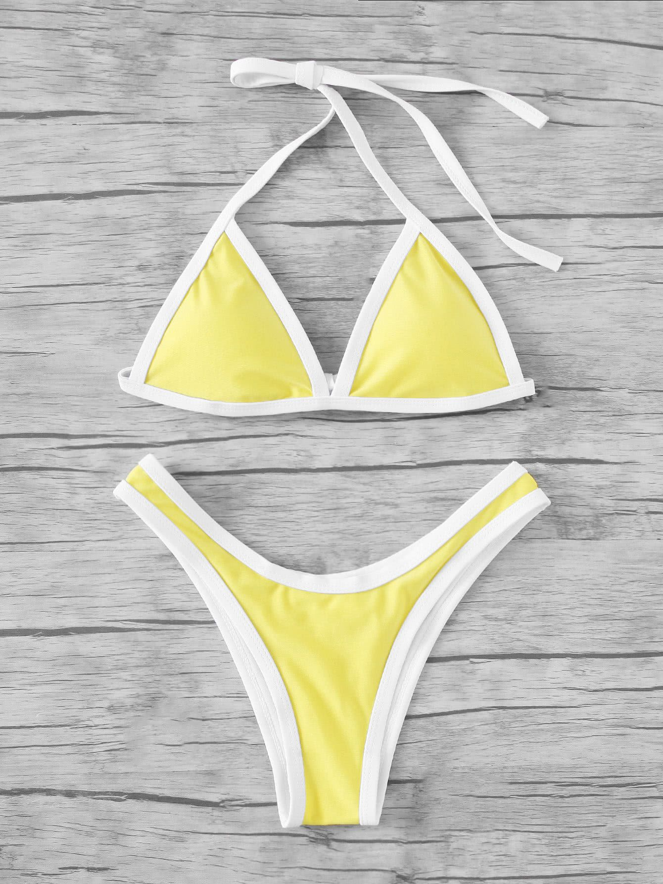 f682f980a08e0 Cómpralo ya!. Contrast Piping High Leg Bikini Set. Yellow Bikinis ...