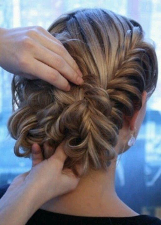 Fishtail updo. -- my hairstyle for my sisters wedding! 18 days!!
